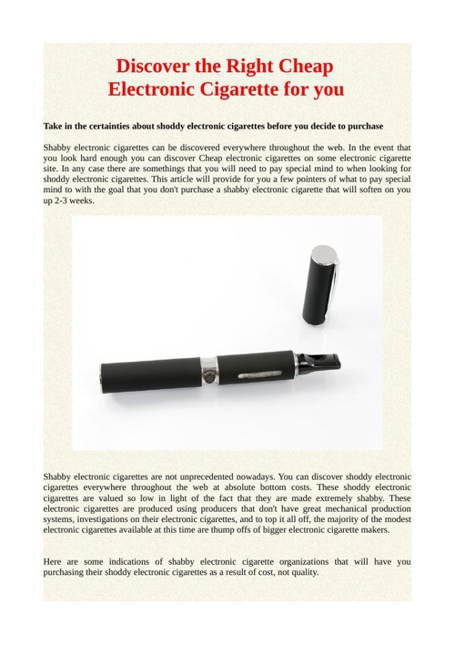 Discover the Right Cheap Electronic Cigarette for you