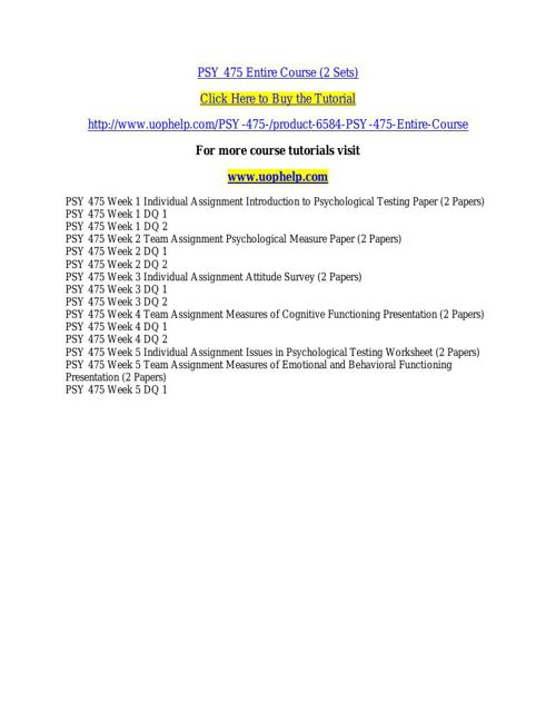 PSY 475 ACADEMIC COACH / UOPHELP