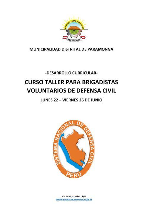 MDP / PROGRAMA CURSO TALLER PARA BRIGADISTAS VOLUNTARIOS DE DEFE