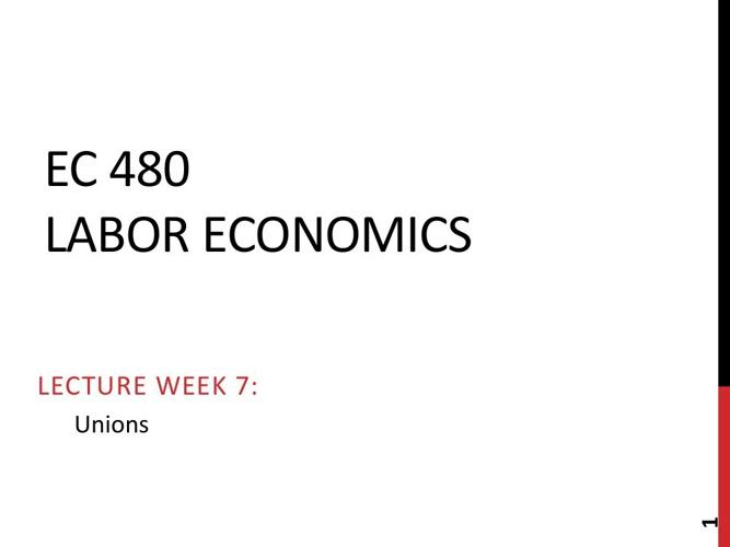 EC 480 Lecture Week 7