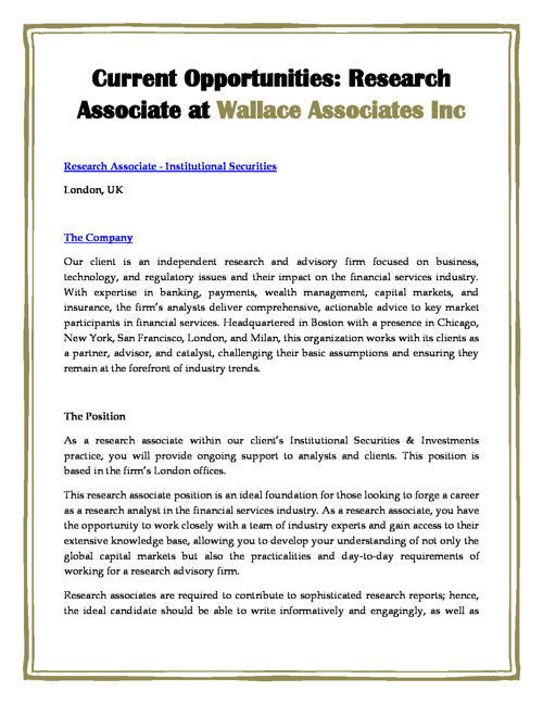 Current Opportunities: Research Associate at Wallace Associates