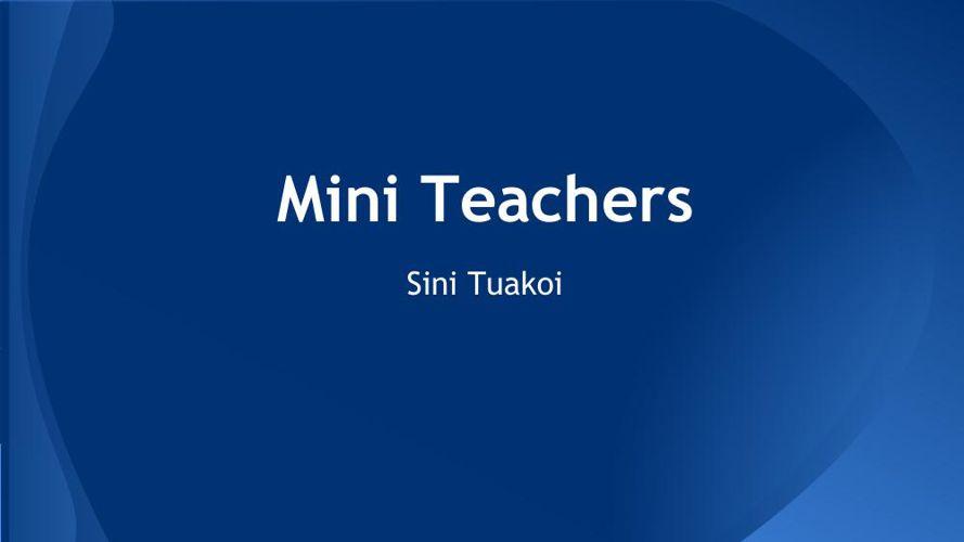 Electricity- Mini Teachers 30 June 2015