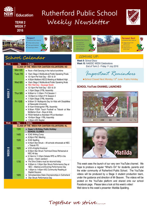 Rutherford Public School Newsletter Week 7 Term 2 2016