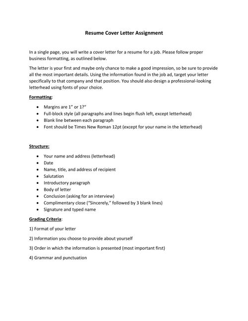 Resume Cover Letter Assignment