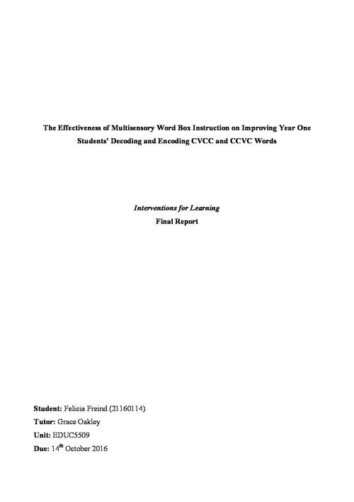 Intervention Report: Multisensory Word Box Instruction