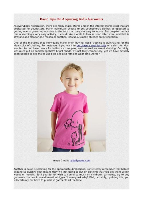 Basic Tips On Acquiring Kid's Garments