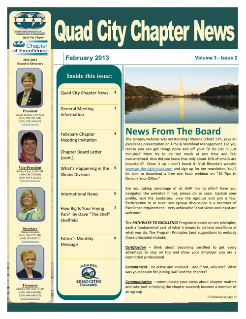 February 2013 Newsletter - Quad City Chapter