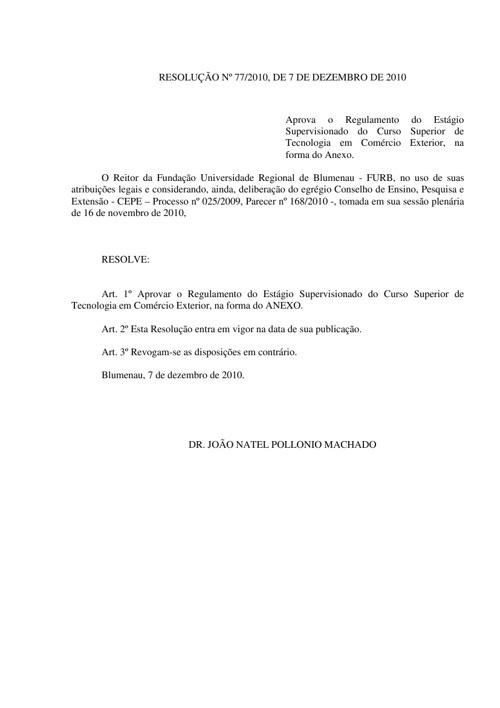 REGULAMENTO DE ESTÁGIO DO CURSO DE TECNOLOGIA EM COM EXTERIOR