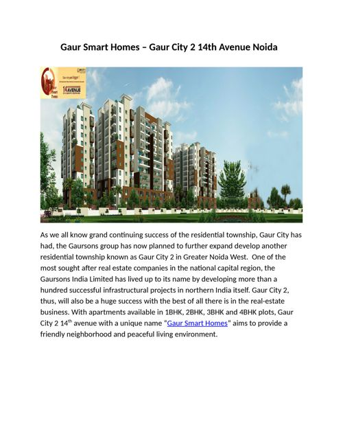 Gaur Smart Homes Glorious Project