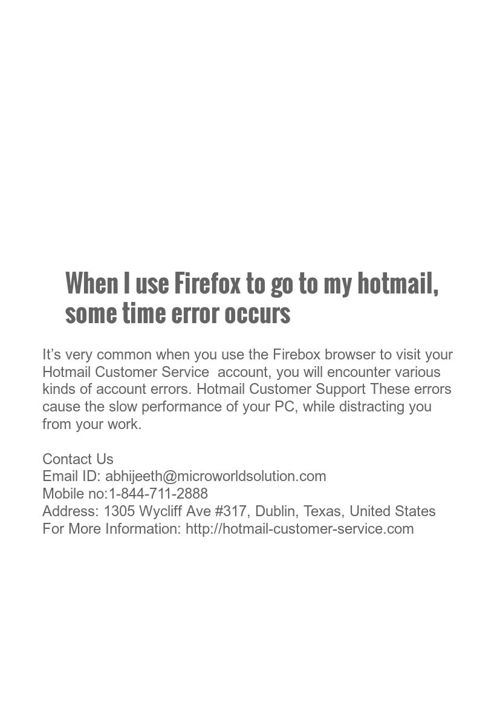 When I use Firefox to go to my hotmail, some time error occu