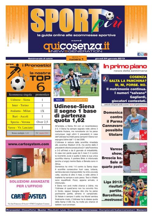 Sport più - Nr. 1 - 24 gennaio 2013