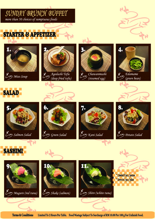 Sunday Ala Carte Buffet Menu (Zakuro 2 Japanese Cuicine)