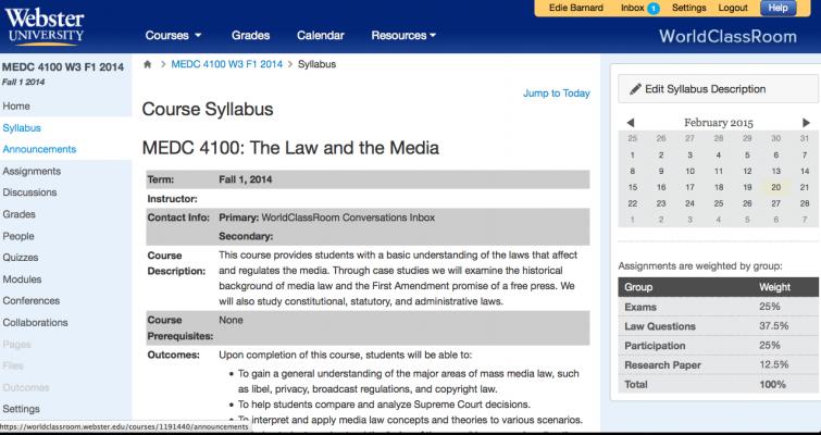 Webster University Media Law