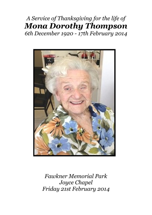 8 Order of Service for Mona Dorothy Thompson