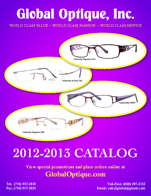 Global Optique Inc. 2012-2013 Catalog