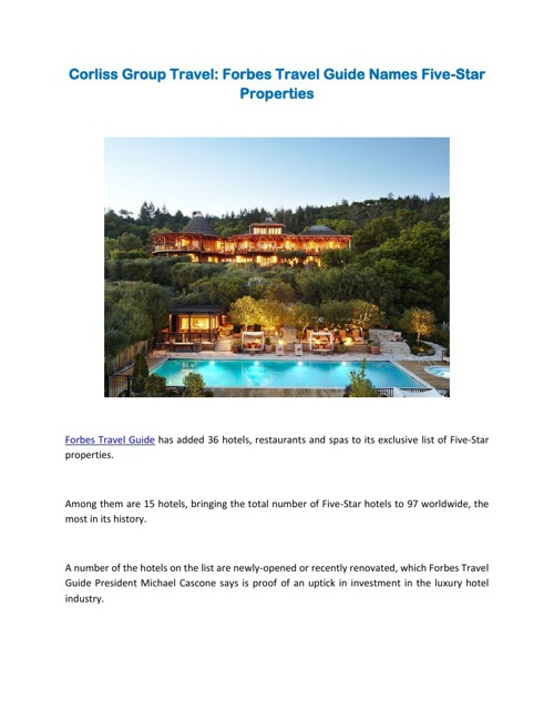 Corliss Group Travel: Forbes Travel Guide Names Five-Star