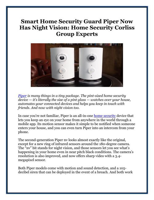 Smart Home Security Guard Piper Now Has Night Vision Home Securi