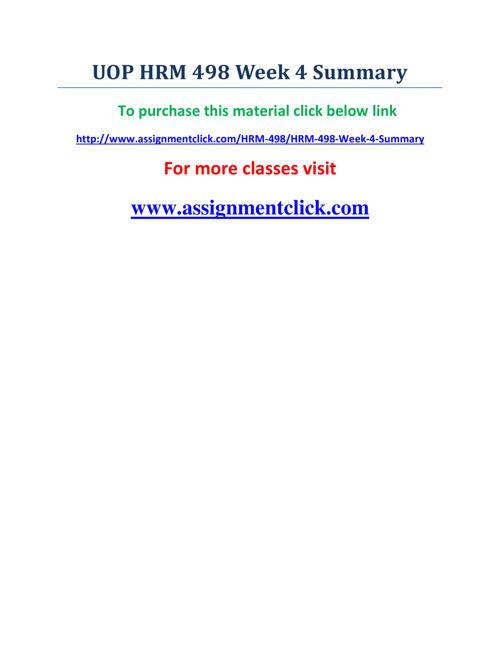 UOP HRM 498 Week 4 Summary