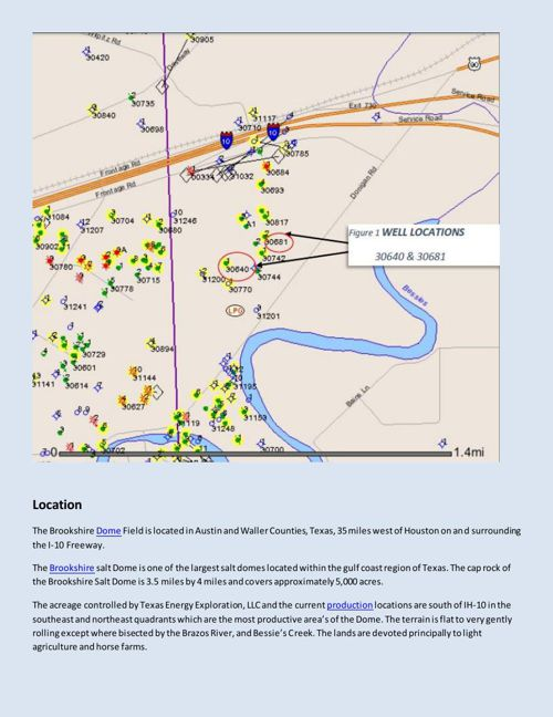 Texas Energy Exploration LLC - Brookshire well Location