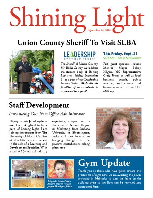 Shining Light Newsletter - September 17, 2012