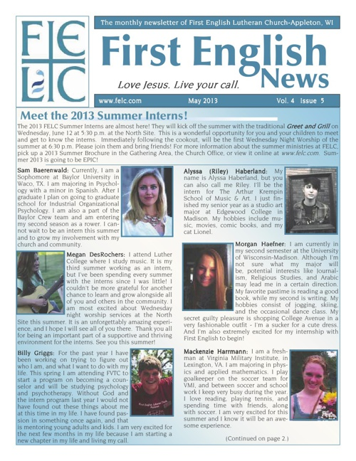 FELC May 2013 Newsletter