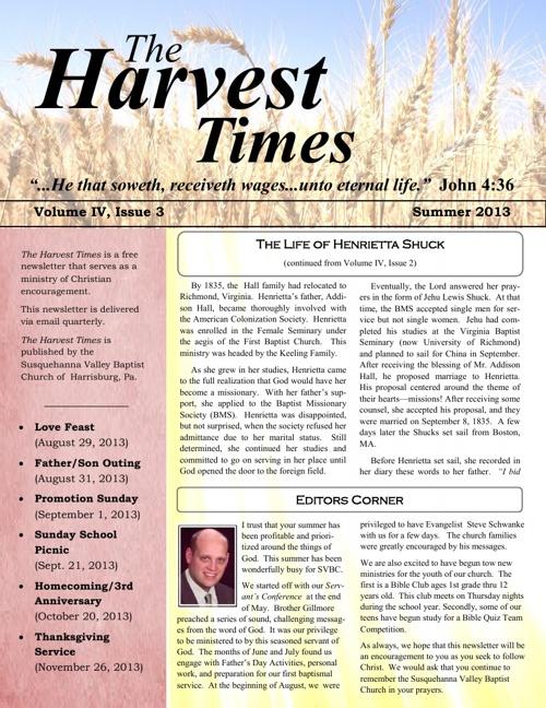 Harvest Times, Volume IV, Issue 3