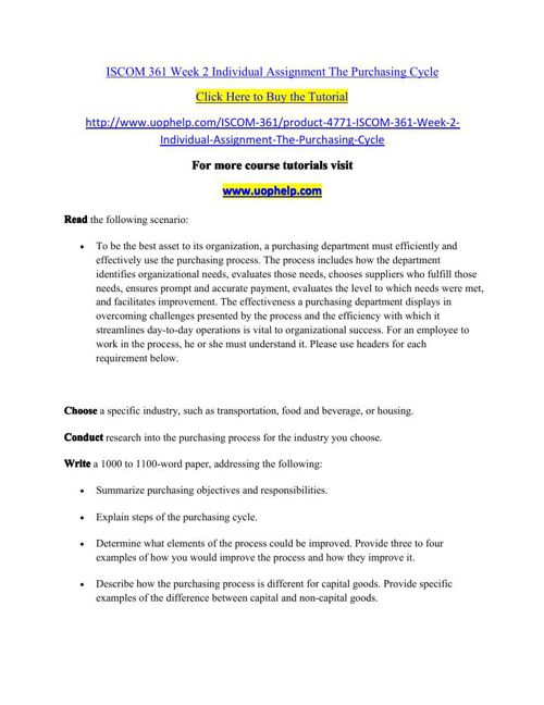 ISCOM 361 Week 2 Individual Assignment The Purchasing Cycle