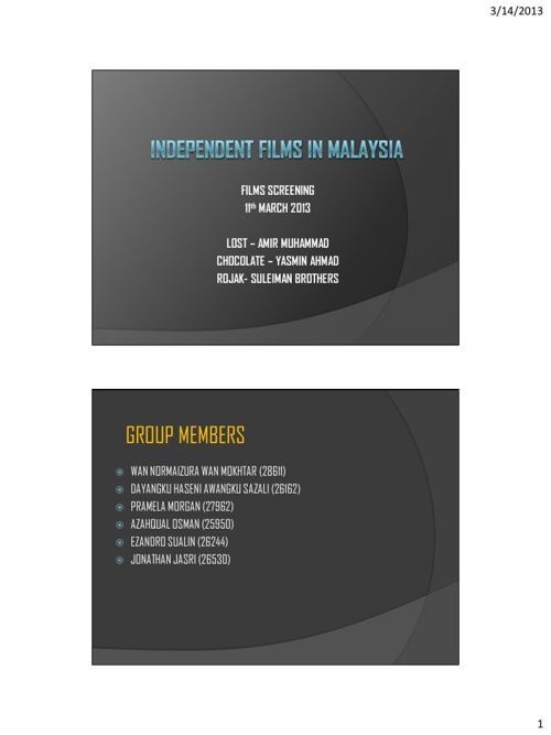 "G2-in-class-screening: ""Independent Films in Malaysia"""
