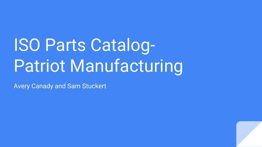 ISO Parts Catalog