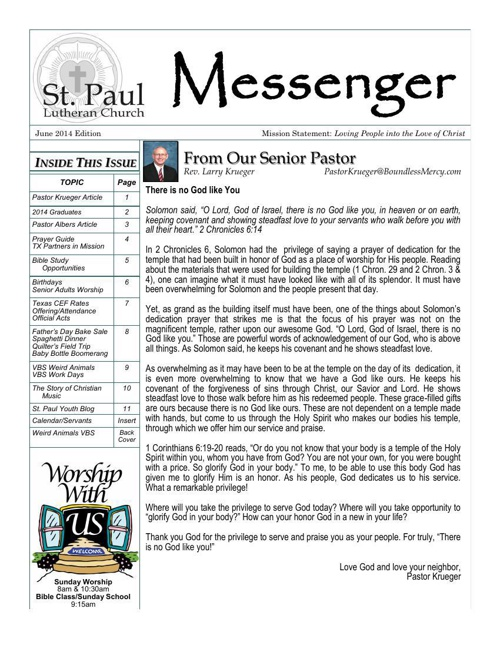 St. Paul Lutheran Church Messenger
