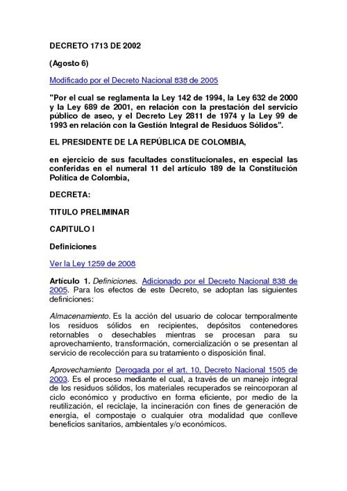 """DECRETO 1713 DE 2002 """"Gestión Integral de Residuos Sólidos"""""""