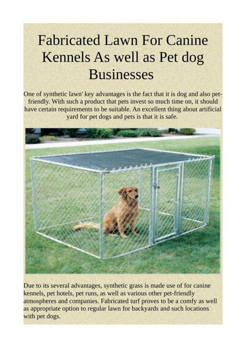 Fabricated Lawn For Canine Kennels As well as Pet dog Businesses
