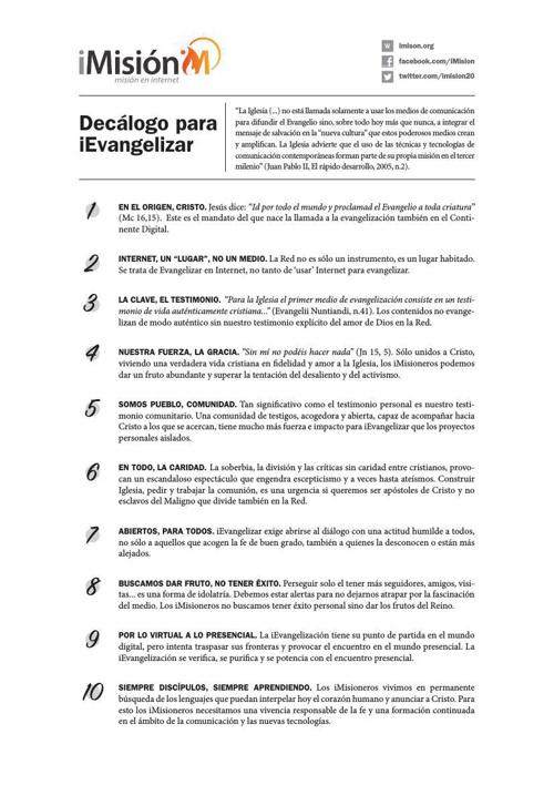Decálogo iMisión para la Evangelización Internet