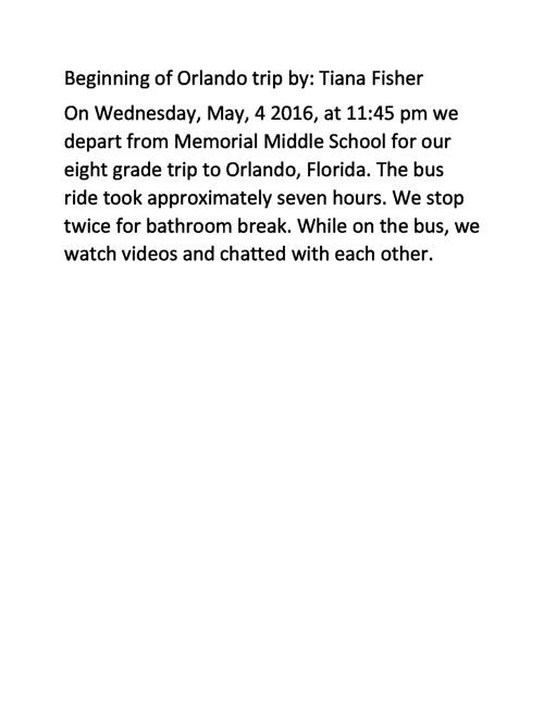 Beginning of Orlando trip by