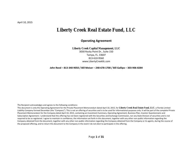 Liberty Creek Real Estate Fund Final Landscape Operating Agreeme