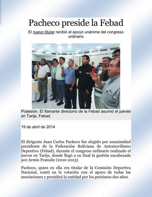 Pacheco preside la Febad