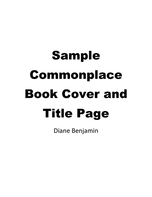 New and Improved Sample Commonplace Book