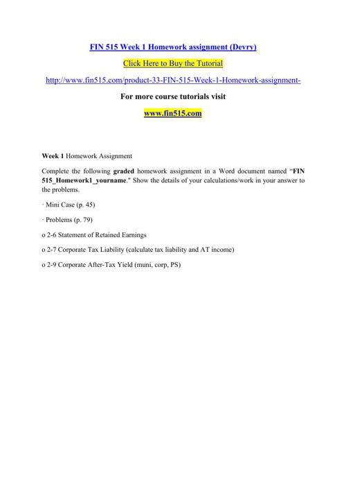 FIN 515 Week 1 Homework assignment (Devry)
