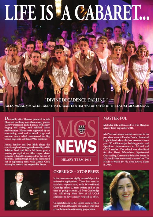 MCS Hilary 2016 Newsletter A4 pages