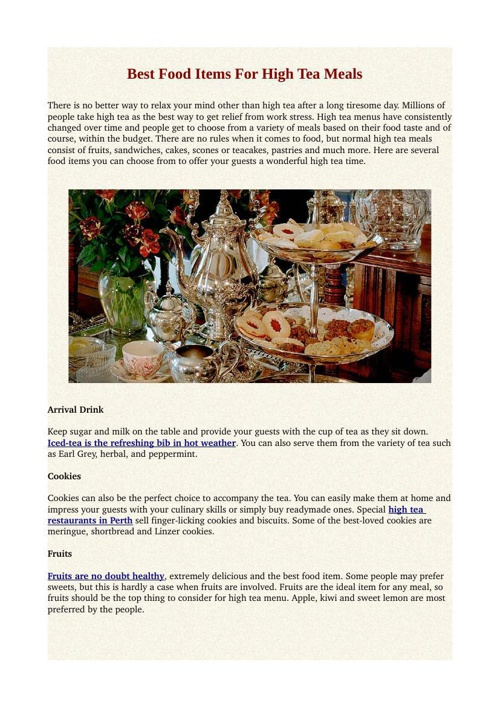 Best Food Items For High Tea Meals