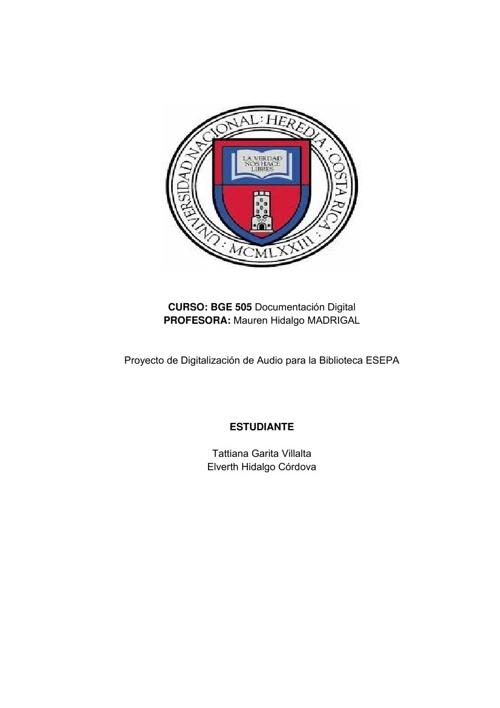 Proyecto de Digitalización de Audio para la Biblioteca ESEPA