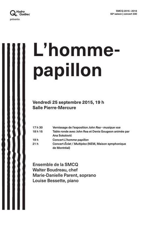 Programme du concert SMCQ : L'homme-papillon