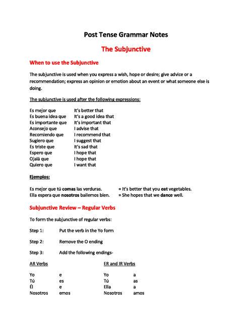 Spanish IIIB Post Test Grammar Notes