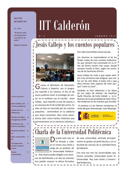 Boletín de febrero del IES Calderón de la Barca