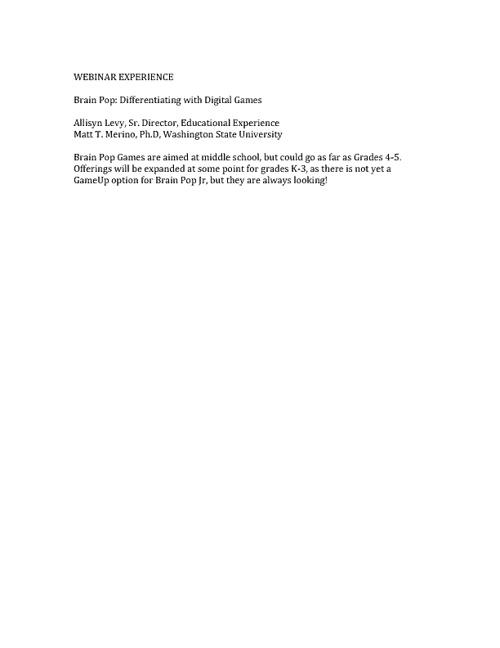 ECOMP 6203:  BrainPop Webinar