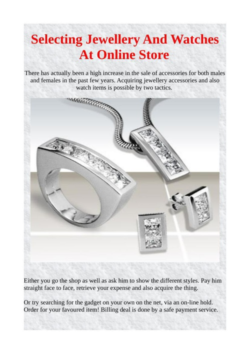Selecting Jewellery Watches At Online Store