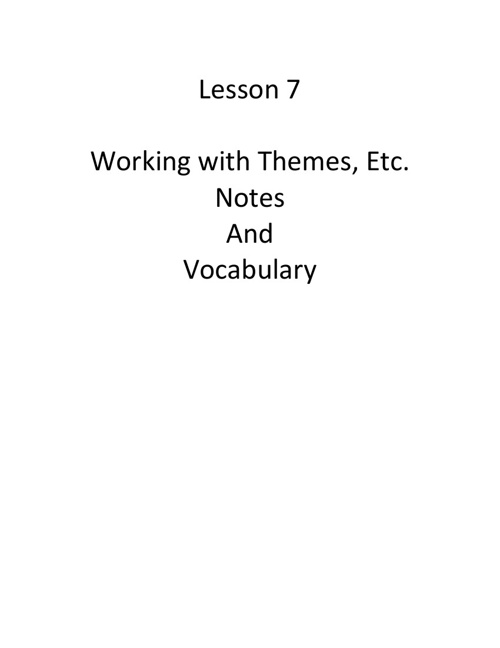 Lesson 7-13 Notes and Vocab