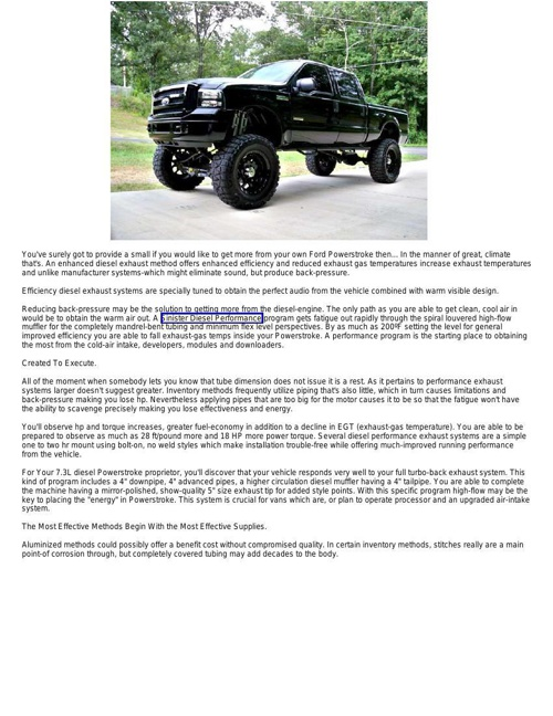 Upgrading Your Diesel Exhaust System Improves Your Powerstroke P