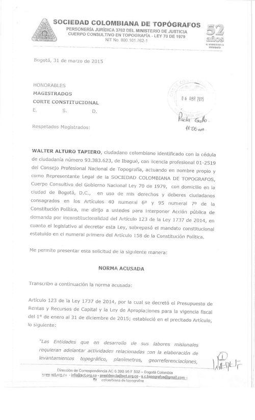 """DEMANDA POR INCOSTITUCIONALIDAD """"ARTICULO 123 DE LA LEY 1737"""""""