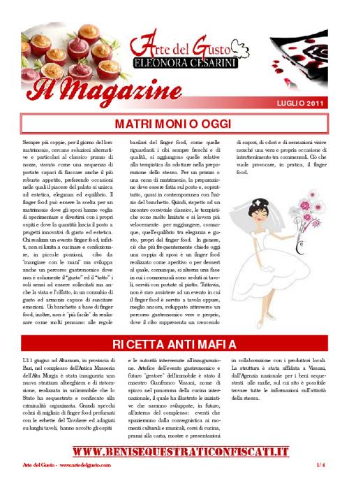 Arte del Gusto - Il Magazine, Luglio 2011